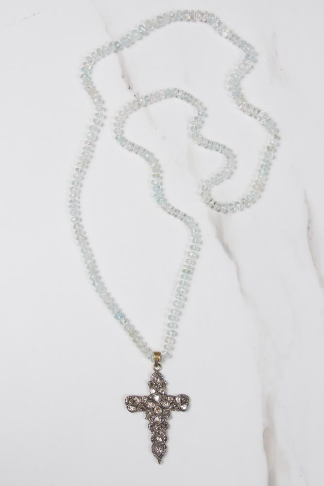 Aquamarine Necklace with Antique Diamond Cross