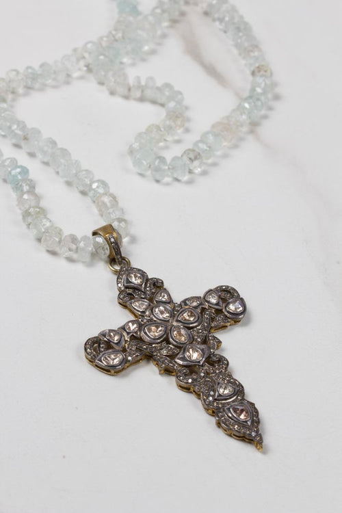 Aquamarine Necklace with Antique Diamond Cross , BOHEME FINE JEWELRY - Moda Boheme
