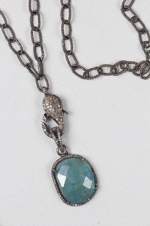 Aquamarine Pendant on a Silver Chain with Diamond Lock