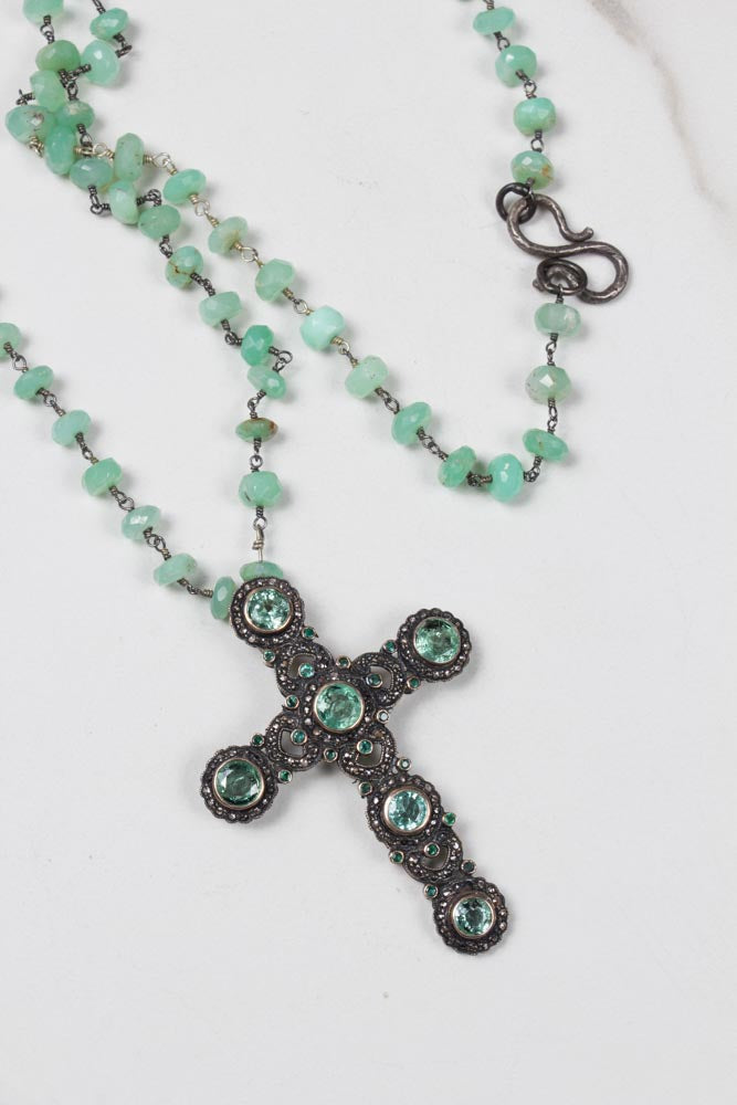 Antique Diamond and Emeralds Cross , BOHEME FINE JEWELRY - Moda Boheme
