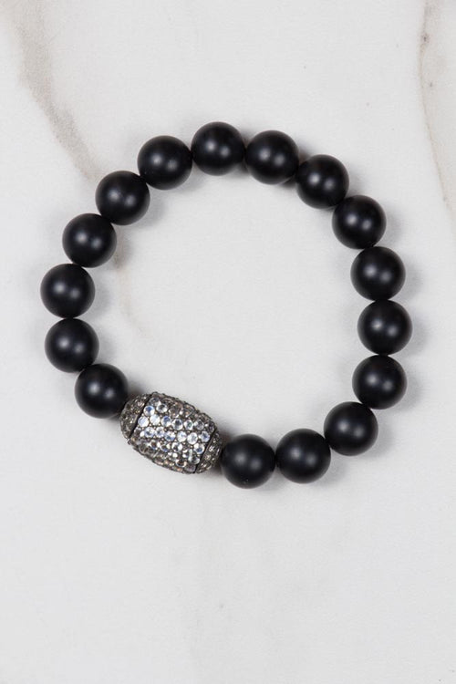 Ebony Wood Bracelet with Diamond Circle Ball