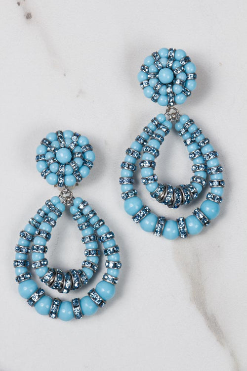 Parisian Chandelier Earrings - Small light Blue