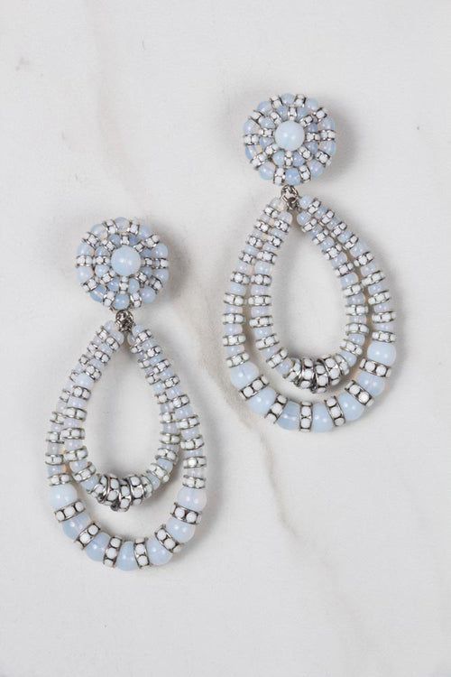 Parisian Chandelier Earrings Calcedonia- Large white