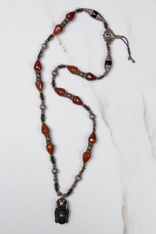 Blackwood Buddha Pendant with Diamond Necklace , BOHEME FINE JEWELRY - Moda Boheme