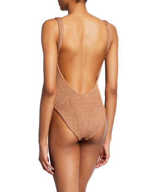 Isolde Square-Neck High-Leg One-Piece Swimsuit