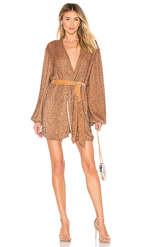 Gabrielle Robe Dress - Bronze