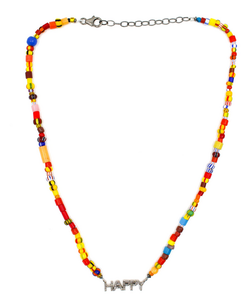 Happy Diamond Beaded Necklace