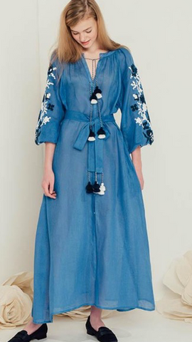 Pero Long Embroidered Dress - Blue