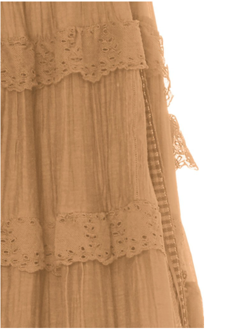 Lace-Trimmed Tiered Cotton-Silk Slip Dress , PÉRO - Moda Boheme