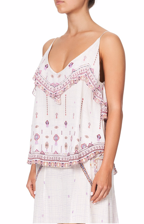 TOP WITH NECKLINE FRILL - TANAMI ROAD