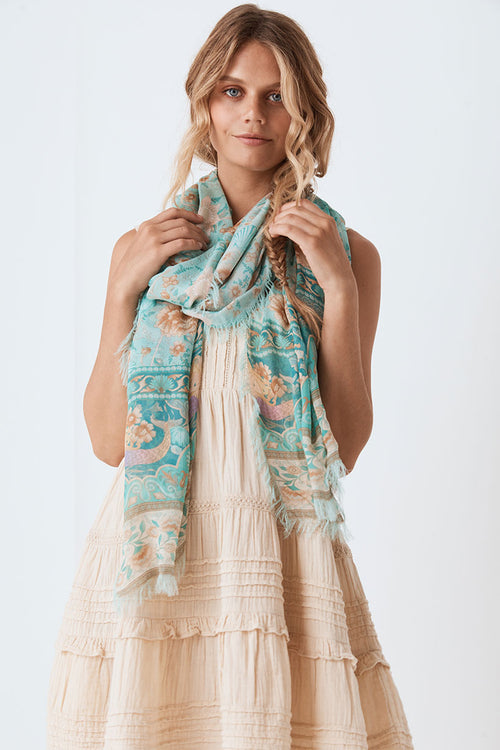 Seashell Travel Scarf - Seafoam