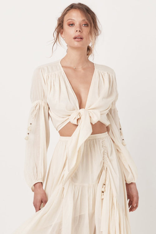 Seashell Organic Tie Top - Ivory