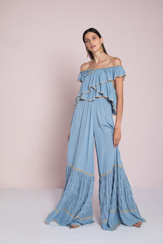 Tiki Long Tier Dress - Marine