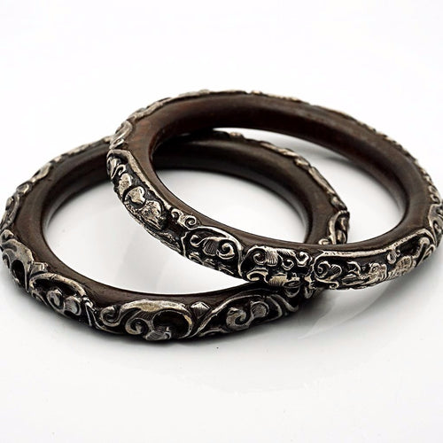 Wooden Bracelet with Silver Designs