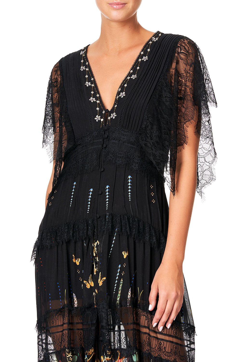 Button Up Dress with Lace Insert