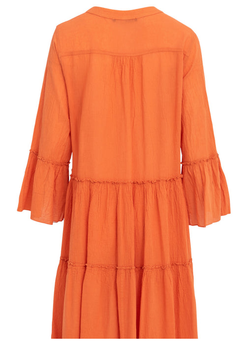 Ella Short Cotton Dress- Orange