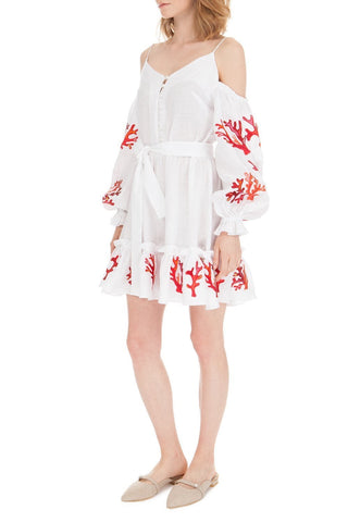 Off Shoulder Embroidered Linen Dress