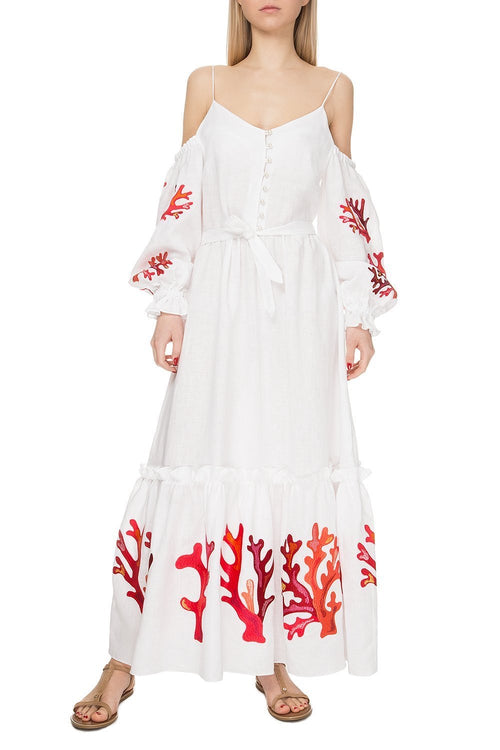 Embroidered Linen Maxi Dress