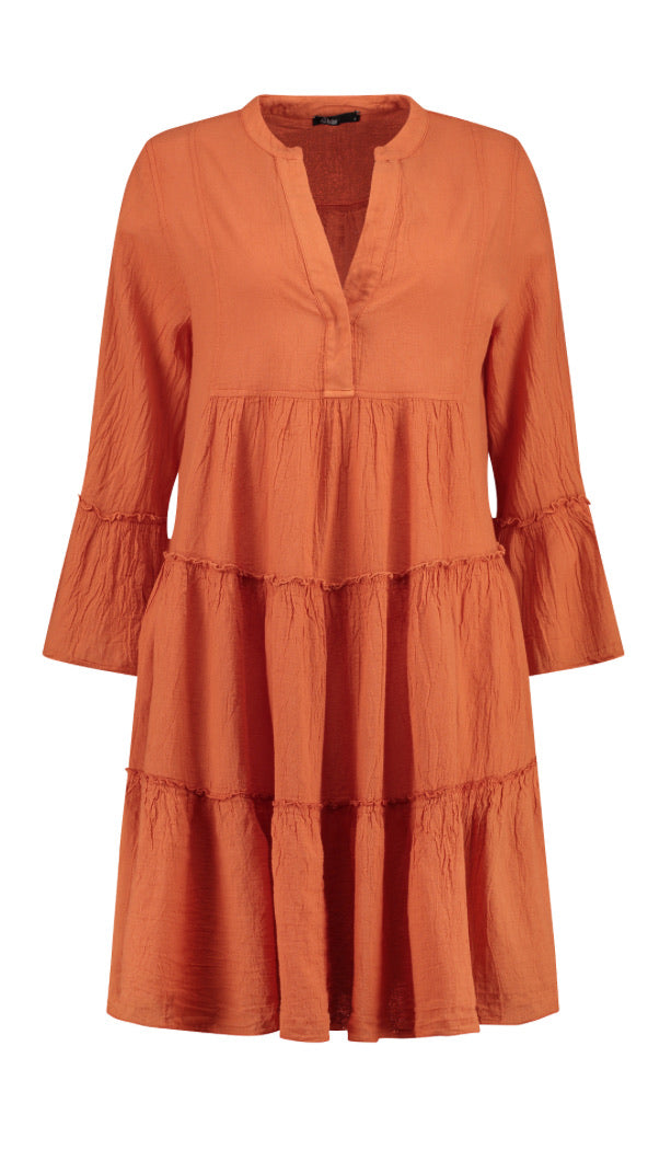 Ella Short Cotton Dress- Orange , Devotion - Moda Boheme