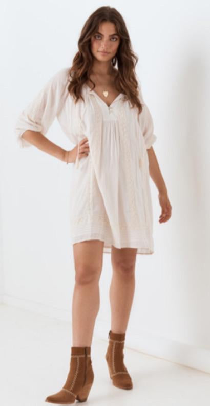 Cinder Tunic Dress - Off White , SPELL & THE GYPSY COLLECTIVE - Moda Boheme