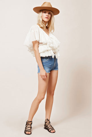 Ruffled Silk Chiffon Blouse