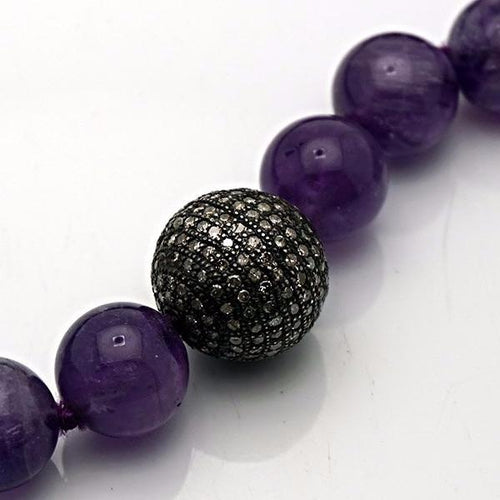 Purple Onyx and Diamond Ball Necklace