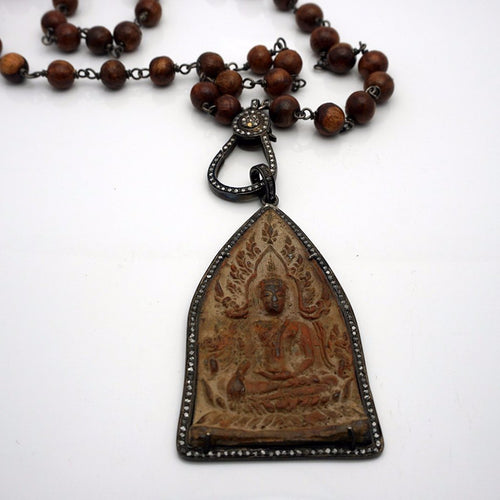 Mala Brown Beads & Buddha Pendant Long Necklace