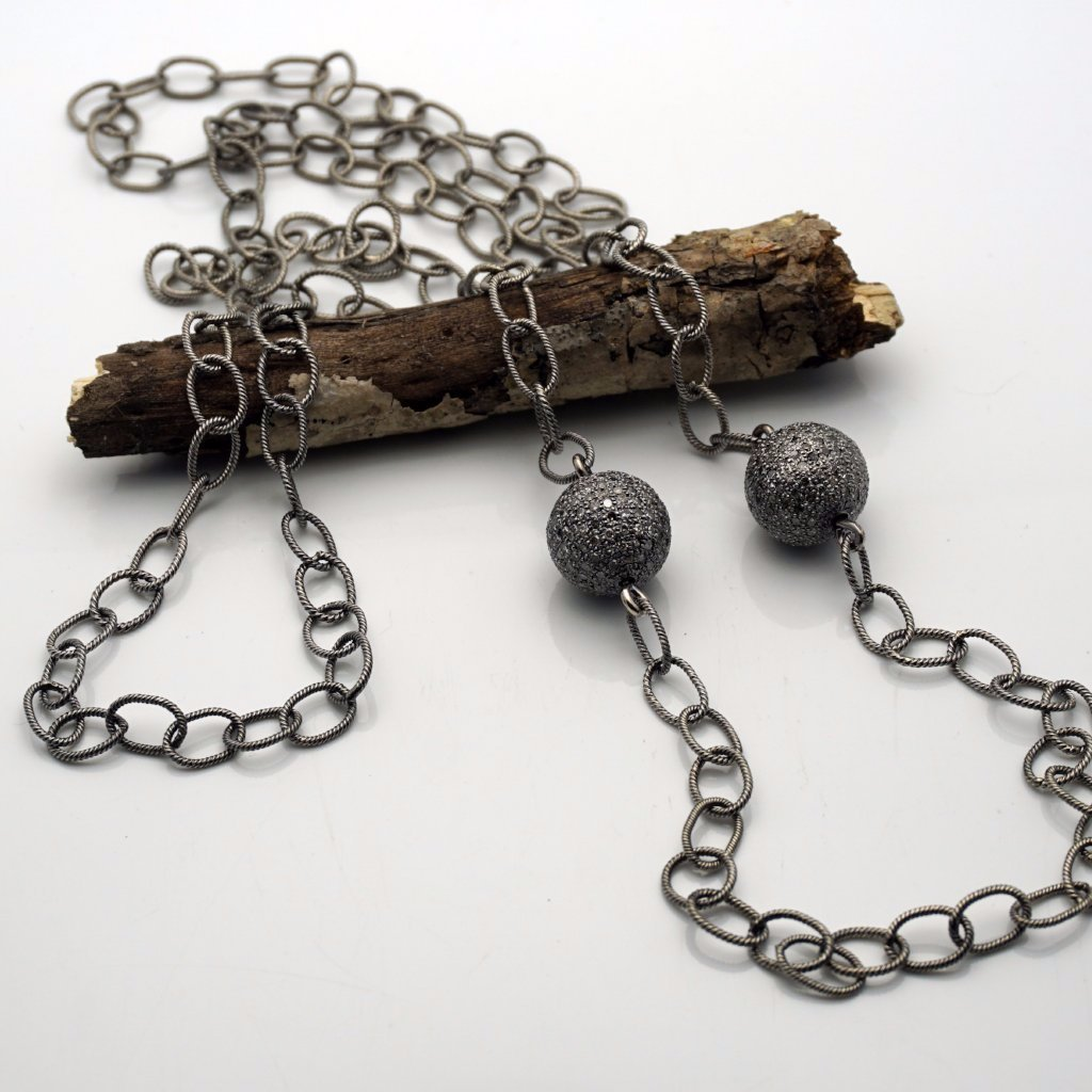 Silver Necklace with 2  Diamond Pendants of 7CT Each