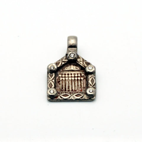 Silver Square Lakshme Pendant with Rose cut Diamonds