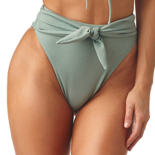 Pistache Paula Tie-Up Bikini Bottom