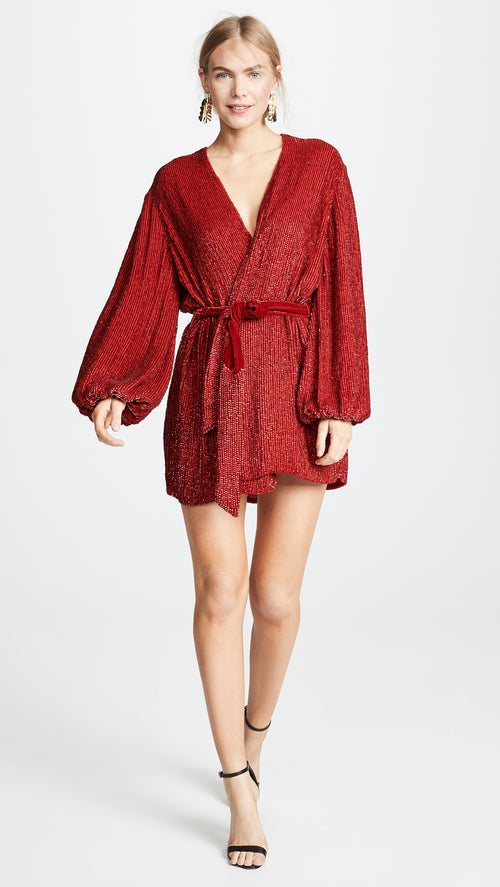 Gabrielle Sequined Dress - Red