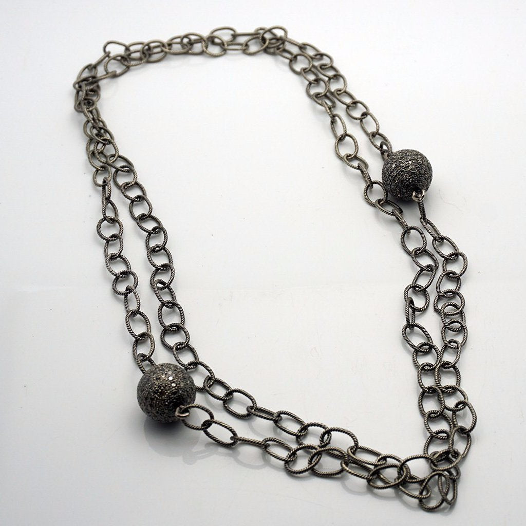 Silver Necklace with 2  Diamond Pendants of 8CT Each