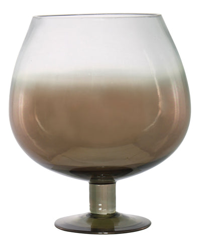 26cm Smoked Effect Glass Goblet Candle Holder-EHomewares