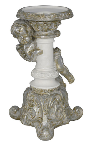 21cm Antique Silver and White Cherub Candle Holder-EHomewares