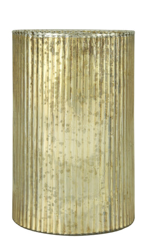 21cm Ribbed Glass Candle Holder-EHomewares
