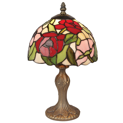 20cm Poppy Stained Glass Table Lamp-EHomewares