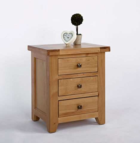 Devon Oak 3 Drawer Bedside-EHomewares