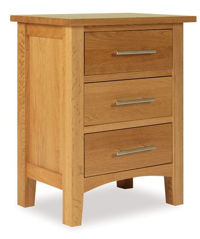 Hereford Oak 3 Drawer Bedside-EHomewares