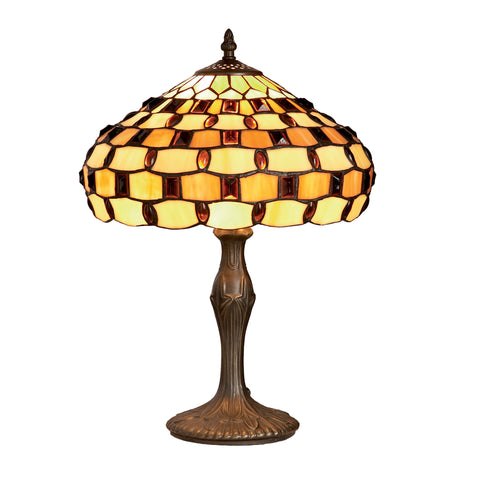 16in Jewelled Tiffany Table Lamp-EHomewares