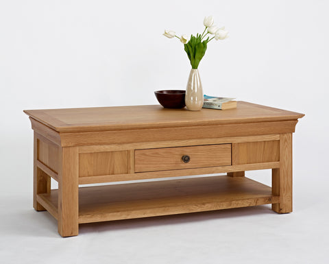 Normandy Oak Coffee Table With Drawer-EHomewares