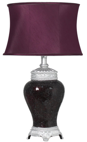 Aubergine Sparkle Mosaic  Regency Lamp with Silver Trimmed Auburgine Shade-EHomewares