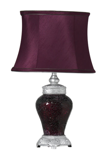 Aubergine Sparkle Mosaic Small Regency Lamp with Silver Trimmed Auburgine Shade-EHomewares