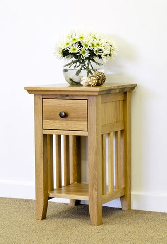 Hereford Rustic Oak 1 Drawer Narrow Bedside-EHomewares