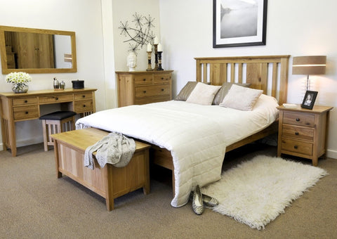 Hereford Rustic Oak Bed - Multiple Sizes (Double Bed)-EHomewares