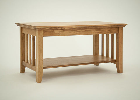 Hereford Rustic Oak Coffee Table with Shelf-EHomewares
