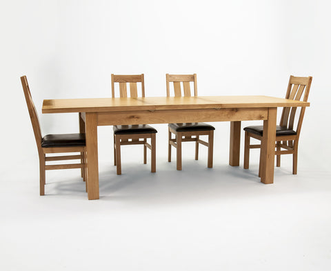 Devon Oak Extending Dining Table (140cm to 200cm)-EHomewares