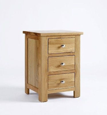Bedside Tables & Cabinets - LANSDOWN OAK 3 DRAWER BEDSIDE CABINET-SOLID OAK TABLE CHEST UNIT - NEW