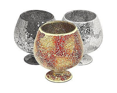 Beautiful Mosaic Crackle Glass Hurricane Candle (black, Orange or Mirrored)-EHomewares