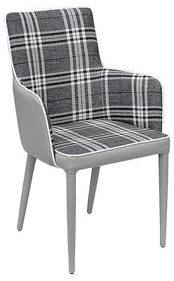 Chairs - Beautiful Macbeth Grey Tartan Checked Fabric Carver Dining Chair