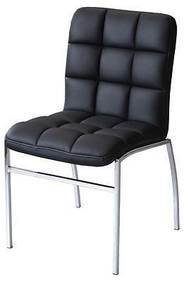 Chairs - Coco Black Faux Leather Dining Chair With Chrome Legs